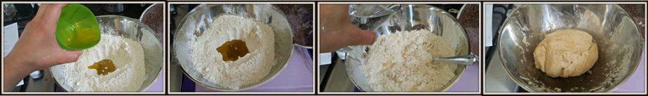 Make a well in the centre, pour in the olive oil, and then gradually stir in enough water to make a nice ball of dough.