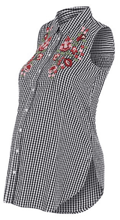 Maternity Gingham Embroidered Shirt