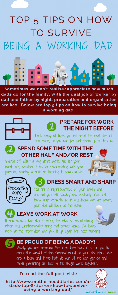 Top 5 tips on how to survive being a working dad - infographic - motherhooddiaries