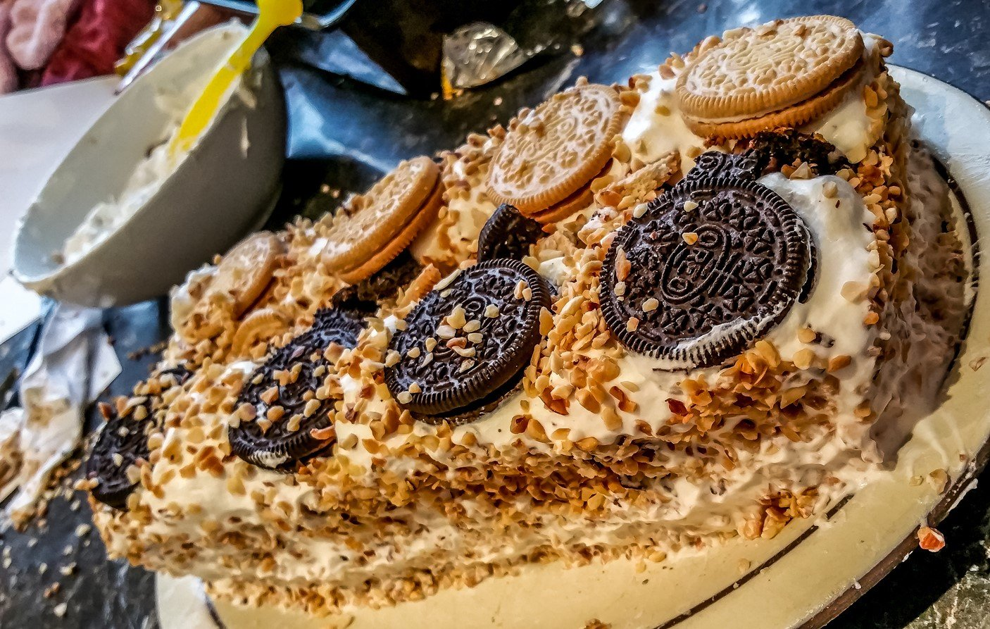 Decorate vienetta with whipped cream - Golden & Peanut Butter Oreo Vienetta - Motherhooddiaries.com