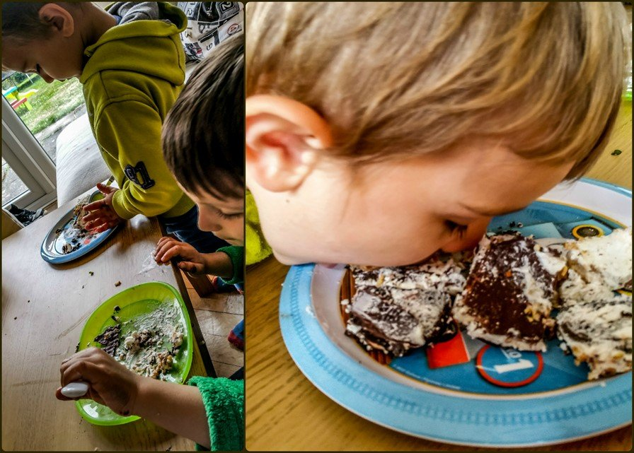 Boys enjoying vienetta - Golden & Peanut Butter Oreo Vienetta - Motherhooddiaries.com