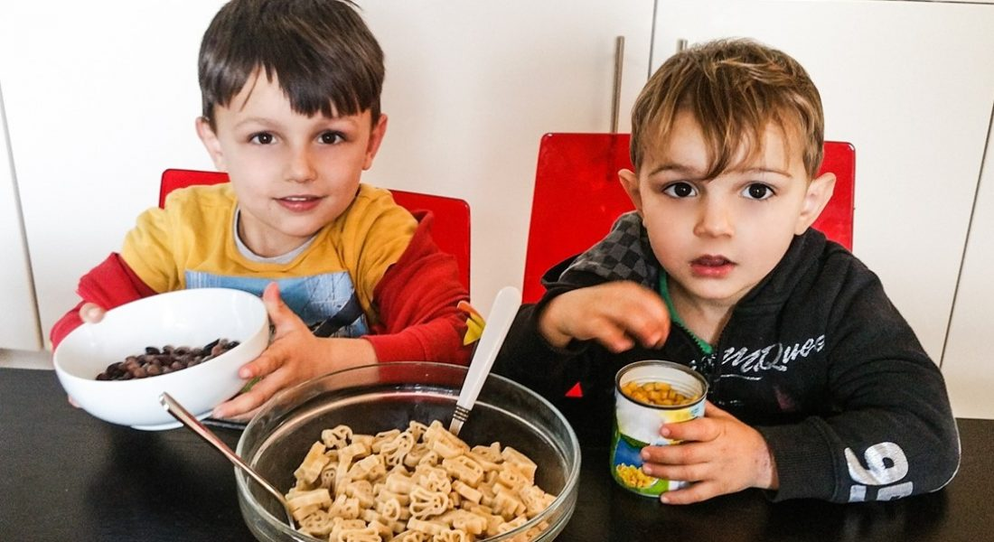 Boys cooking sweet pasta salad - Bernard Matthews and Motherhood Diaries