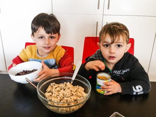 Boys cooking sweet pasta salad - Bernard Matthews and Motherhood Diaries