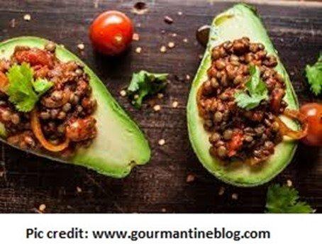 Smoky lentils stuffed avocado - 10 stuffed avocado recipes - motherhooddiaries.com