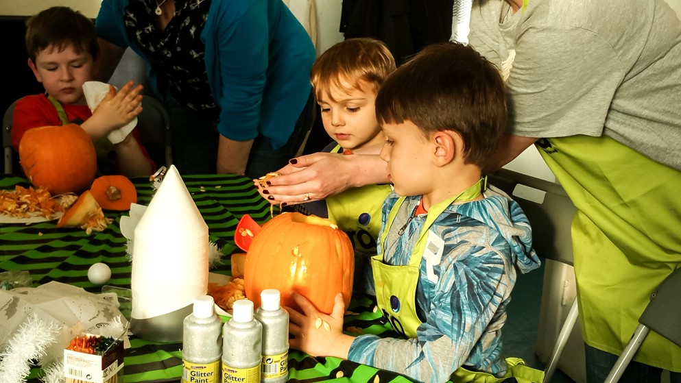 Scooping the pumpkin - Ora Cookery Event - motherhooddiaries.com