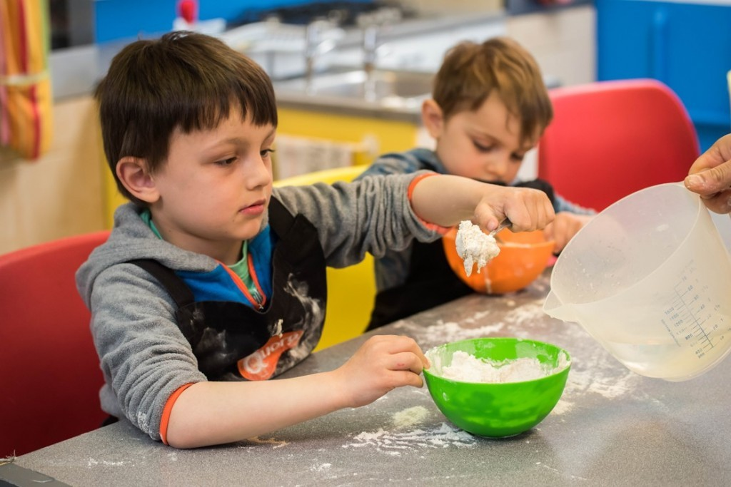 Making dough for Quorn pizza - Quorn Kids Cookery School - motherhooddiaries.com