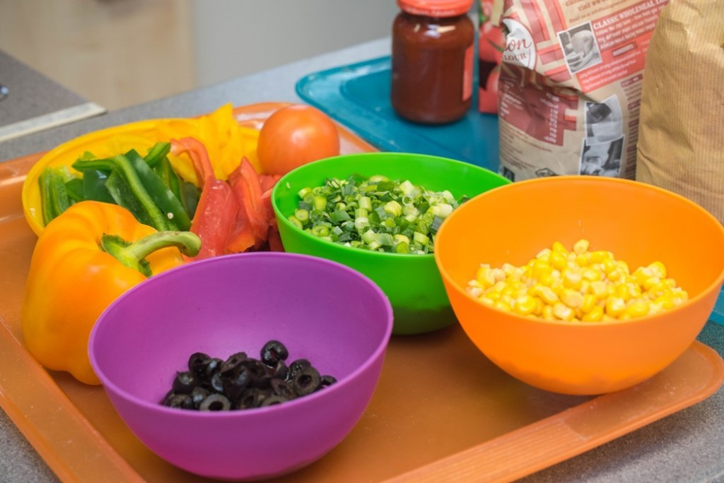 Toppings for Quorn pizza - Quorn Kids Cookery School - motherhooddiaries.com