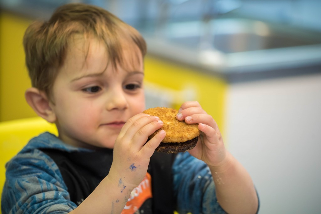 Checking out the Quorn burgers- Quorn Kids Cookery School - motherhooddiaries.com