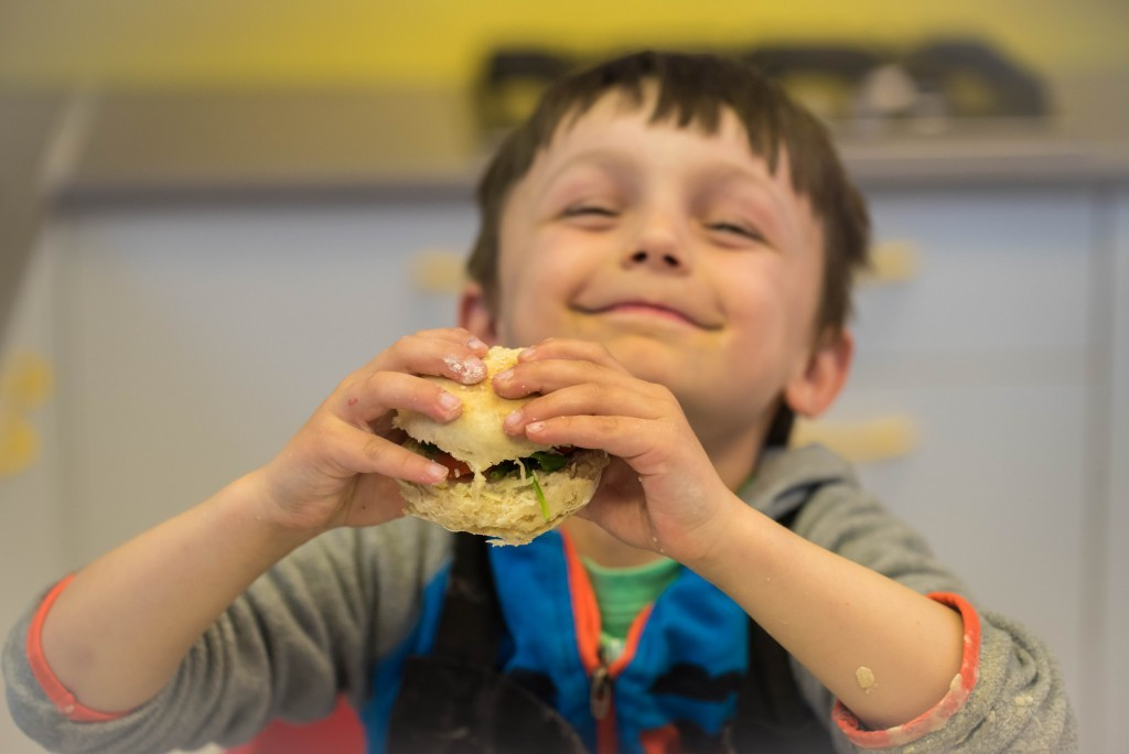 Aron's Quorn burger- Quorn Kids Cookery School - motherhooddiaries.com