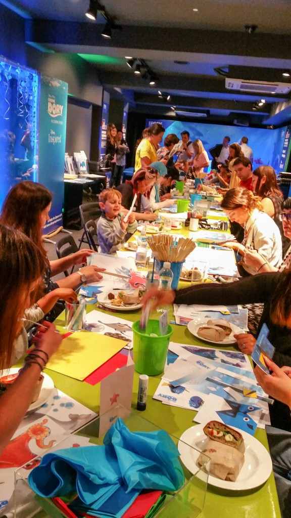 Aidan and the rest of the bloggers getting stuck in and creating art at Disney store #PrintingDory Epson event - motherhooddiaries