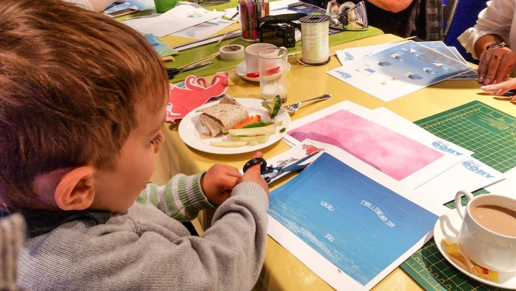 Aidan creating undersea mural for brother - Disney store #PrintingDory Epson event - motherhooddiaries