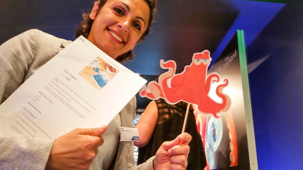 Me holding up Hank the octopus at Disney store #PrintingDory Epson event - motherhooddiaries
