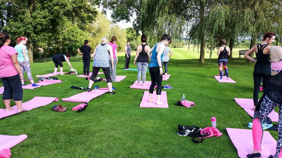 Bloggers practicing yoga - #noonetoldme #oooopsmoments lights by TENA blogger event at Champneys Springs - motherhooddiaries