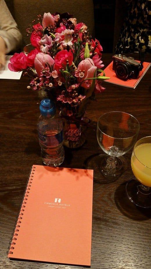 Beautiful flowers and notebook - haymarket hotel - lights by tena - experimental perfume club - motherhooddiaries