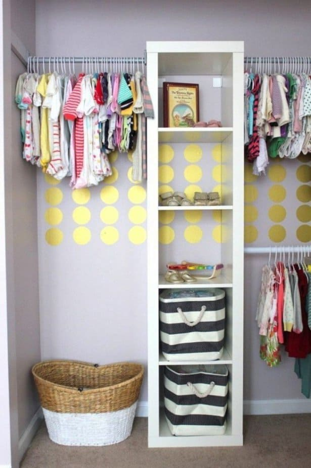Vertical bookshelves in nursery