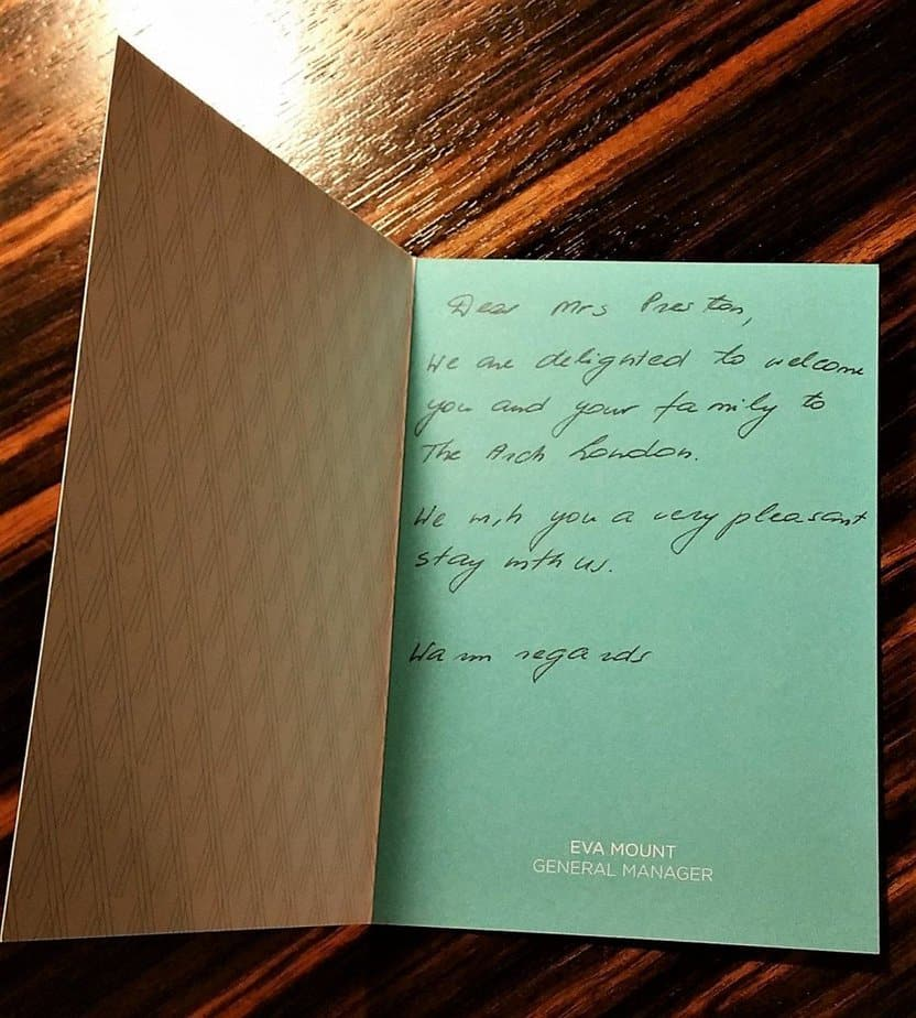 Welcome note - Arch London Hotel - motherhooddiaries