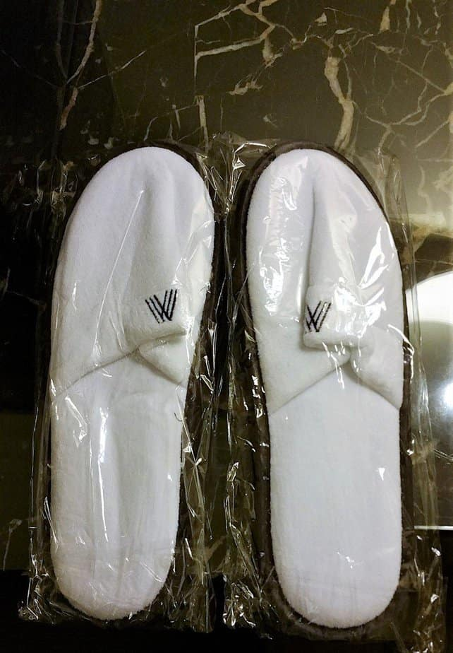 Complimentary slippers - Arch Hotel London - motherhooddiaries