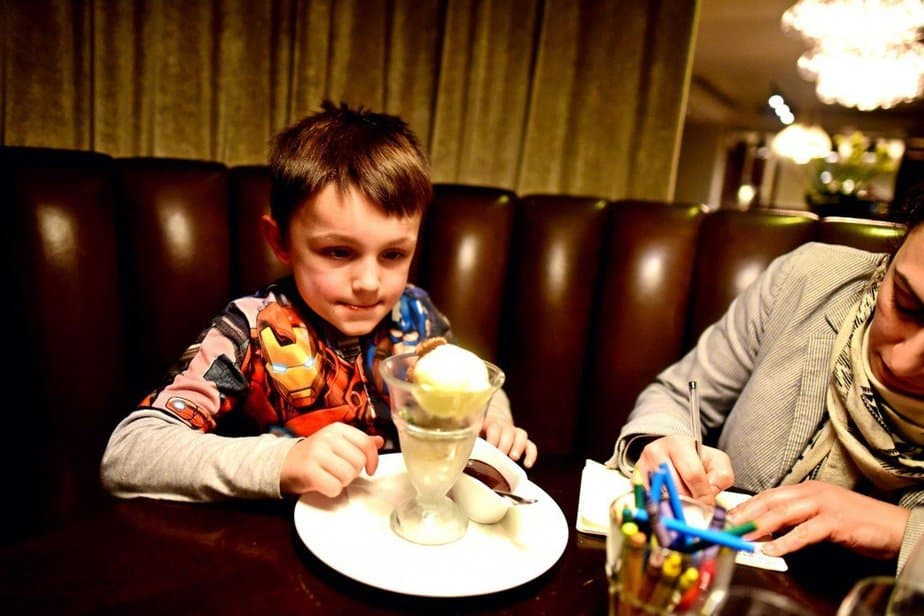 Aron staring at his ice cream - Hunter 486 - Arch London Hotel - motherhooddiaries