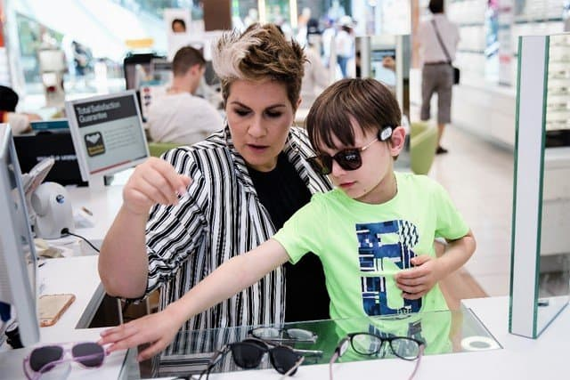 Gemma Sheppard - consultation fitting frame sunglasses - Protect your children's eyes this summer with Vision Express' new range of kids' sunglasses - motherhooddiaries