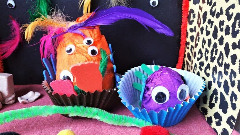 Mother and child monsters in their chairs - Craft Merrily Easy Halloween Monster House - motherhooddiaries