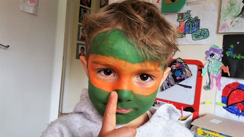 Mikey - Teenage Mutant Ninja Turtles - face paint - Snazaroo - motherhooddiaries