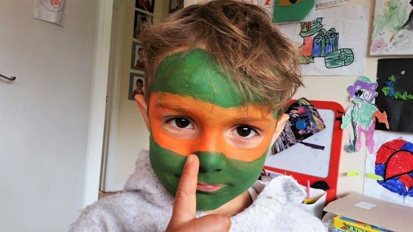 Mikey - Teenage Mutant Ninja Turtles - face paint - Snazaroo - motherhooddiaries