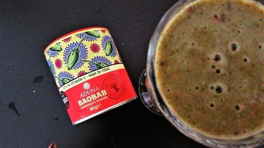 Aduna Baobab powder in my citrus smoothie - motherhooddiaries