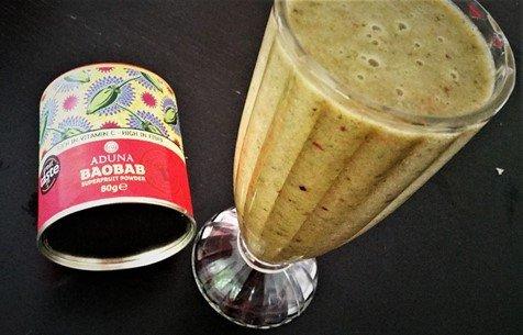 Aduna Baobab powder in my citrus smoothie