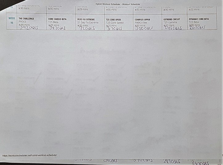 Workout calendar page 3 of 3