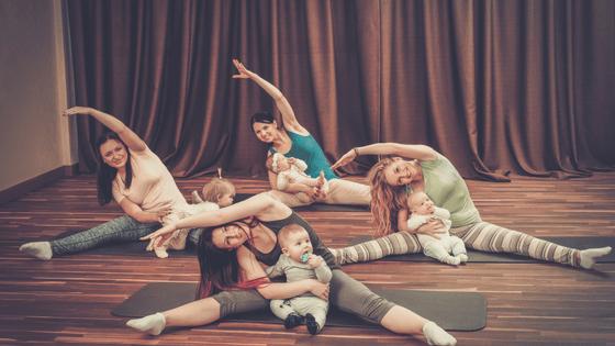 Mums doing baby yoga
