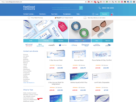 Feel Good Contacts' website – purchasing the contacts