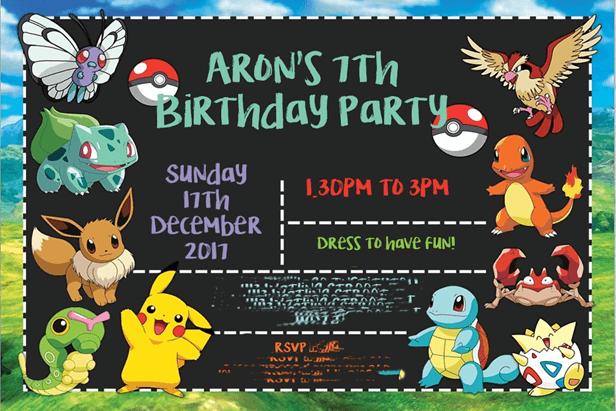 7th birthday party invitation
