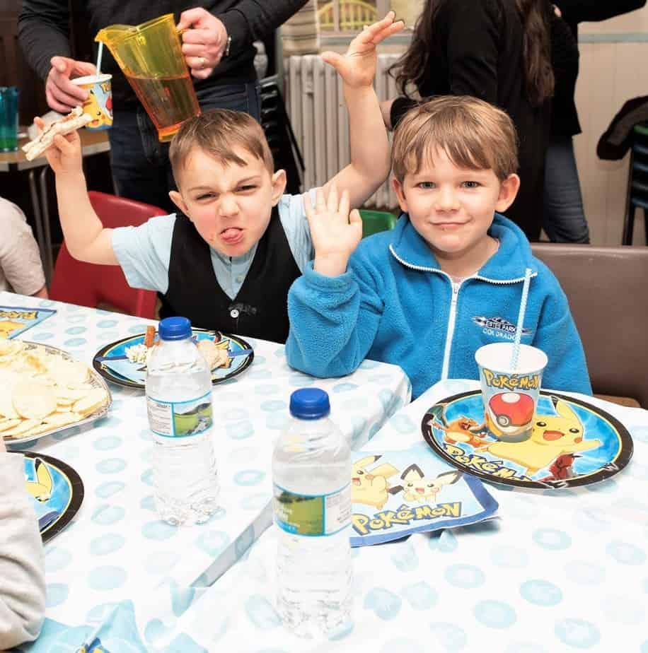 Kids having fun at a pokemon party