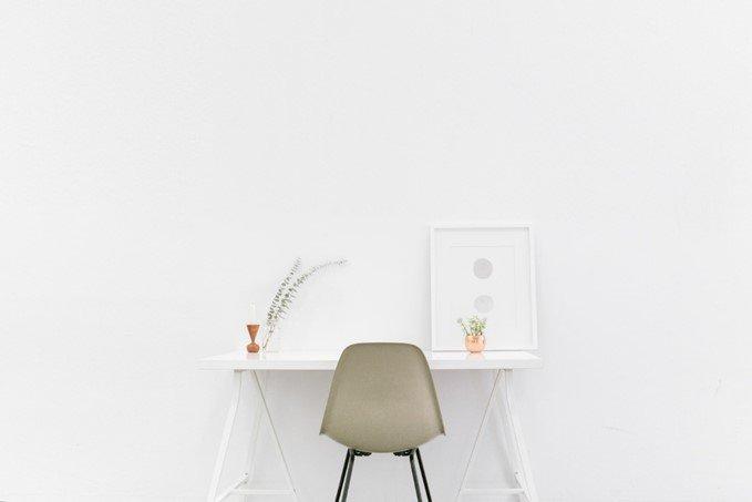 Interior design minimalism - desk and chair