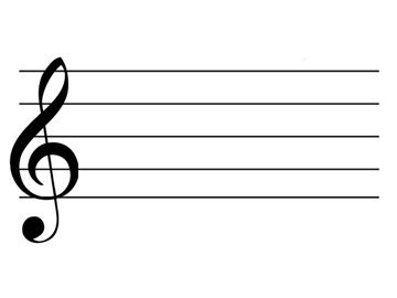 Music stave with treble clef