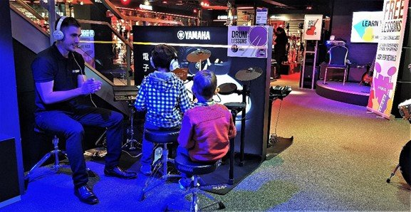 James teaching the drums at Yamaha Music London store in Soho