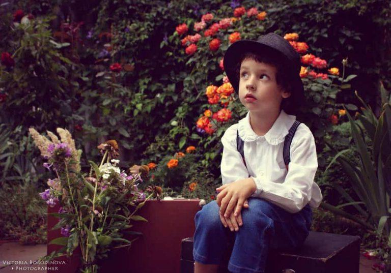 Boy on suitcase