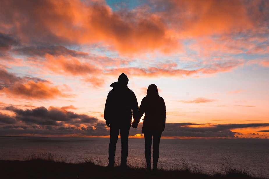 Husband and wife in sunset