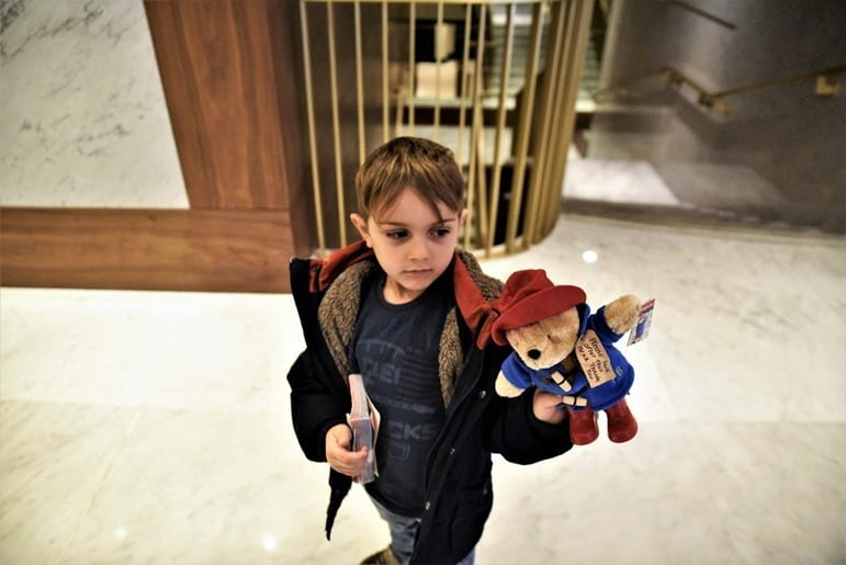 Aidan with Paddington Bear at Royal Lancaster London Hotel