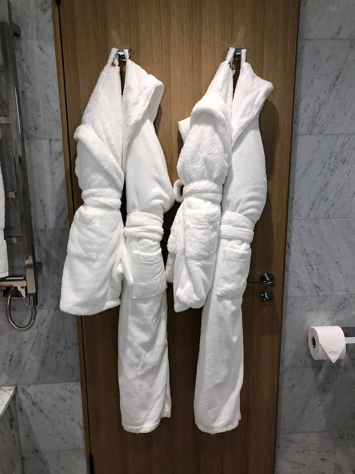 Kids and parents' bathrobes at Royal Lancaster London Hotel