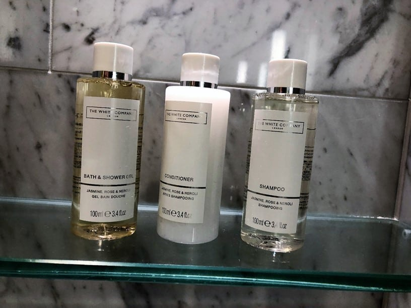 The White Company toiletries at Royal Lancaster London Hotel