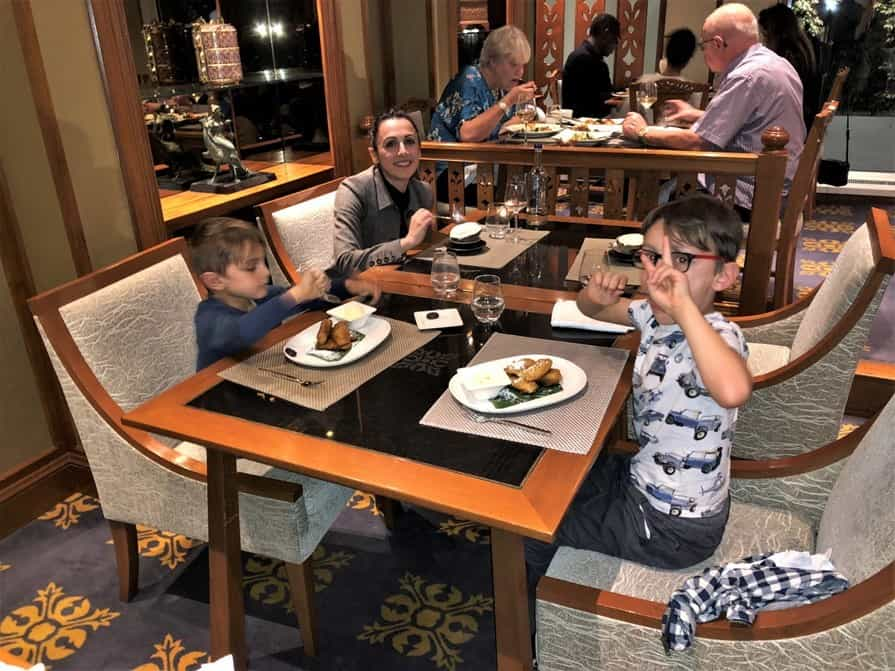 Family of four enjoying Nipa Thai Royal Lancaster London Hotel