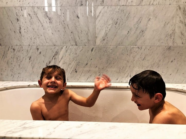 Boys bathroom Royal Lancaster London Hotel