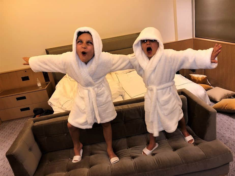 Boys in bathrobes Royal Lancaster London Hotel