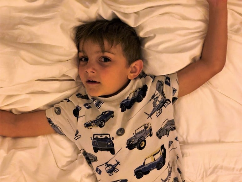 Aidan massively overtired and still awake 4 hours past his bedtime! Royal Lancaster London Hotel