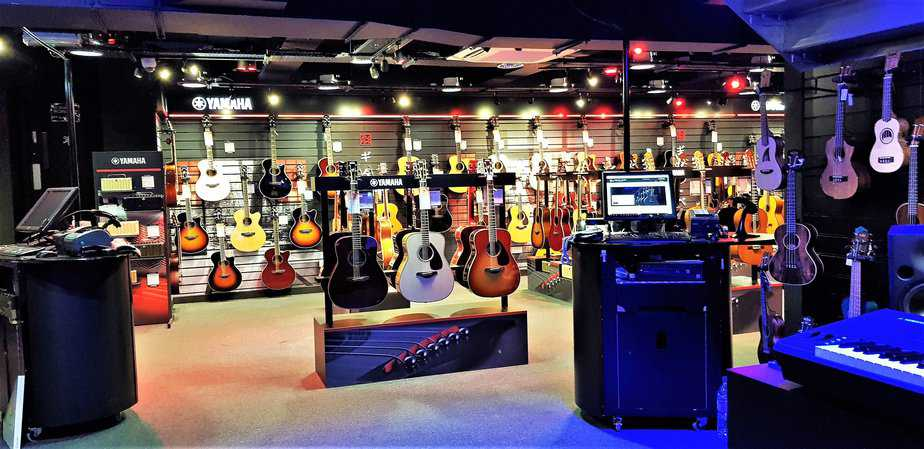 Beautiful array of guitars at Yamaha Music London store in Soho
