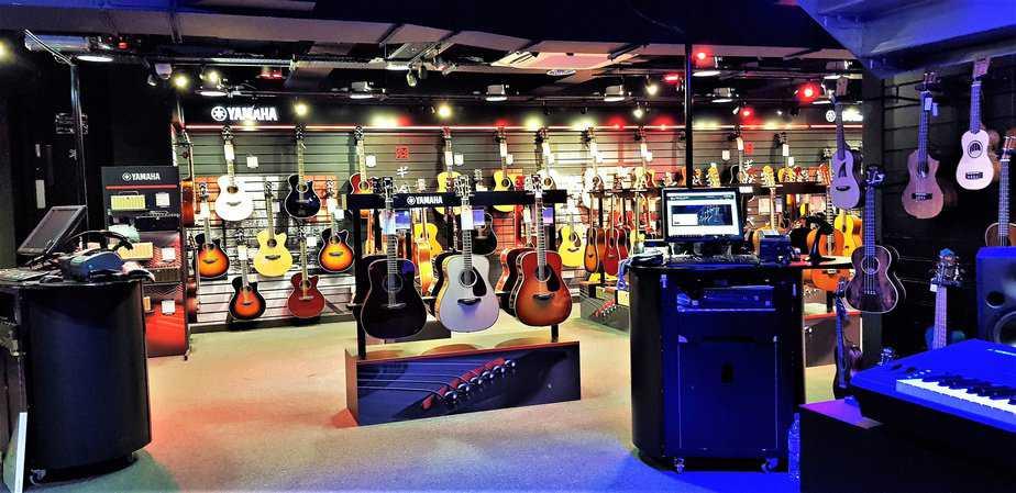 Beautiful array of guitars at Yamaha Music London store in Soho