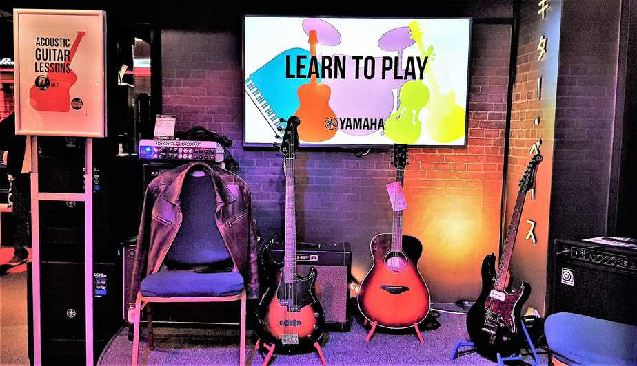 Acoustic guitar area at Yamaha Music London store in Soho