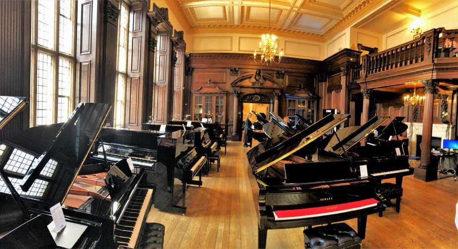 Grand piano portion of Yamaha Music London store in Soho