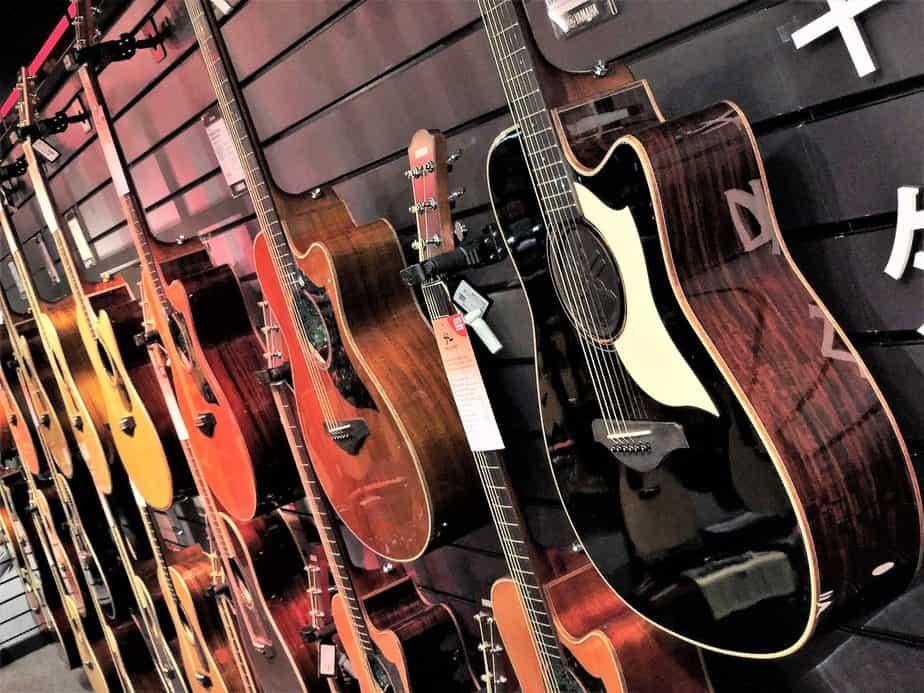 Beautiful array of acoustic guitars at Yamaha Music London store in Soho